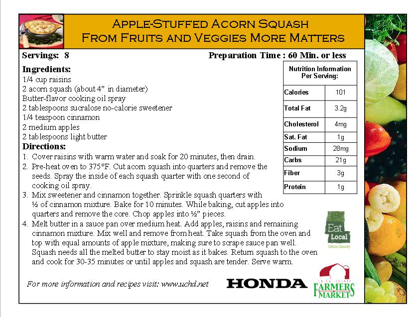 2014 Recipe Card - Apple-Stuffed Acorn Squash - Squash