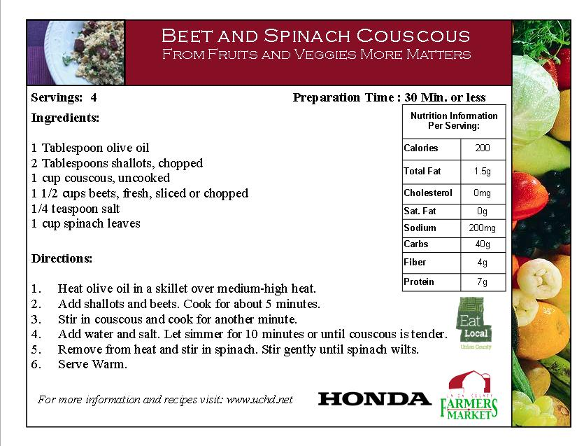 2014 Recipe Card - Beet and Spinach Couscous - Beets