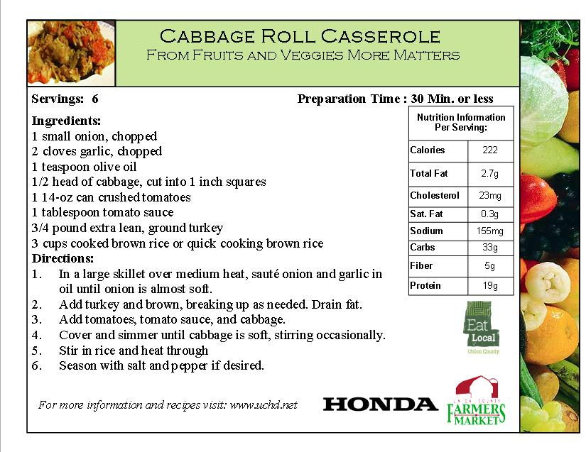 2014 Recipe Card - Cabbage Roll Casserole - Cabbage