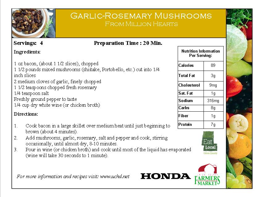 2014 Recipe Card - Garlic Rosemary Mushrooms - Rosemary