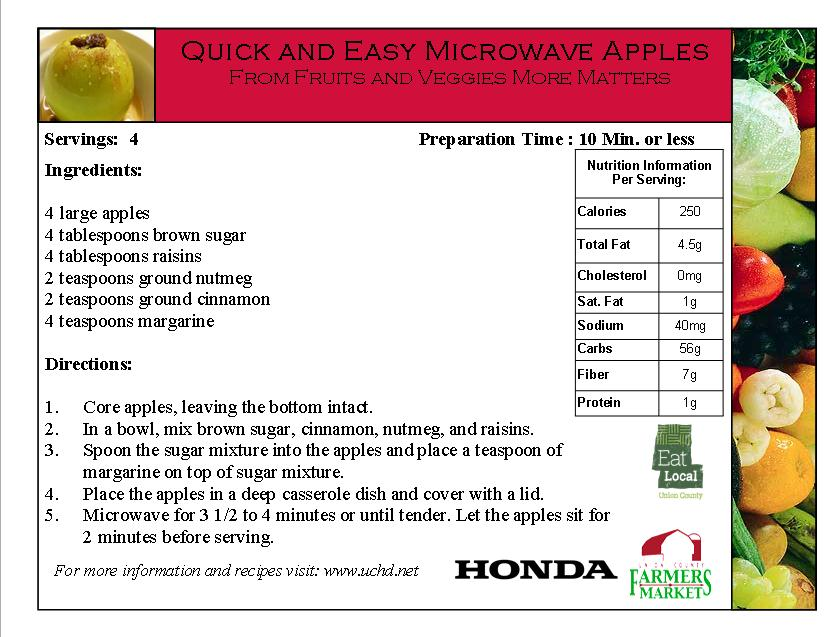 2014 Recipe Card - Quick and Easy Microwave Apples- Apples