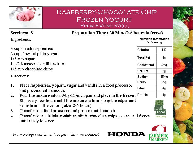 2014 Recipe Card - Raspberry Chocolate Chip Frozen Yogurt - Raspberries