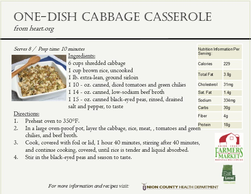 2016 Cabbage Recipe Card