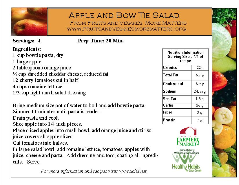 apple and bow tie salad