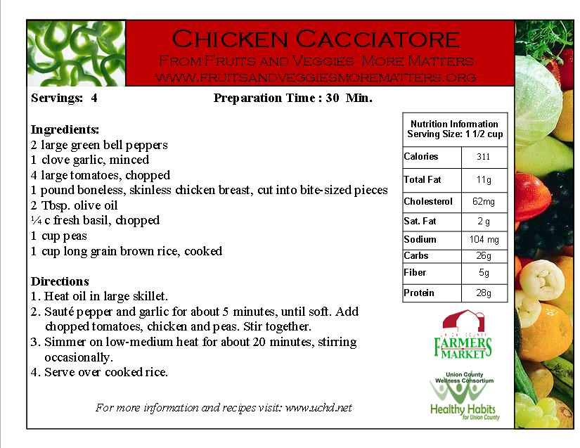 chicken cacciatore- green bell peppers